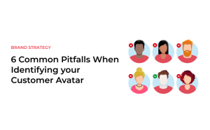Text saying 6 Common Pitfalls When Identifying your Customer Avatar and 6 icons of human heads without faces